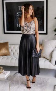 falda plisada de cuero de leopardo faldas superiores no deben faltar