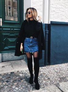 falda de mezclilla bota de suéter negro