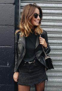 falda de mezclilla negra de cuero negro