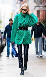 chaqueta de cuero verde abrigo colores rubio