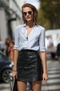 camisa de falda de cuero