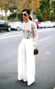pantalón largo blanco blusa formal con encaje