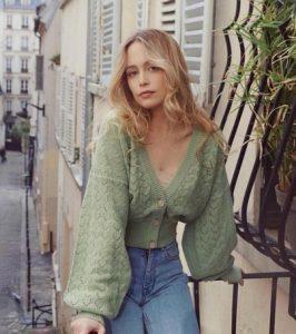cárdigan corto verde para mujer