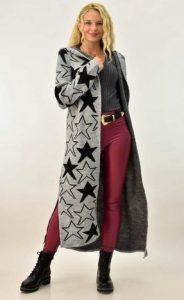 cárdigan negro gris con estrellas