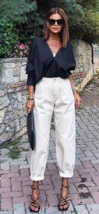 vestido con jeans blancos