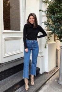 jeans de cintura alta blusa negra