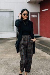 pantalones a cuadros pantalones de chaqueta negra imprescindibles