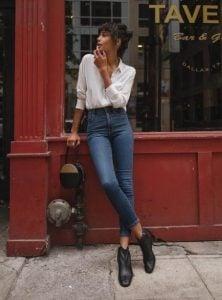 camisa blanca de talle alto