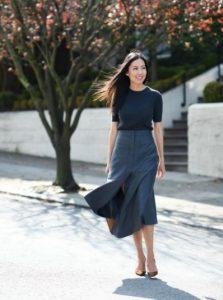 falda midi blusa negra