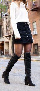 falda de suéter de mezclilla negra