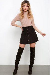 falda vaquera negra blusa rosa