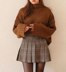 falda de suéter a cuadros