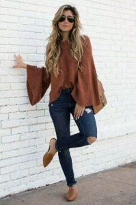 jeans con blusa camel