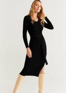 vestido negro con cinturón
