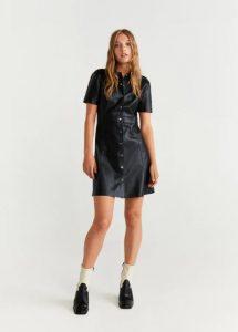 vestido corto de cuero