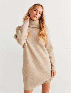 vestido de lana beige
