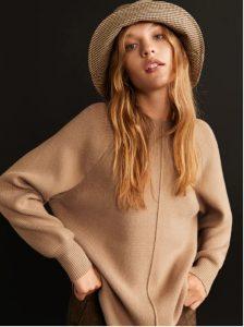suéter de camello de punto