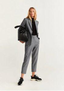 pantalones largos grises en línea recta