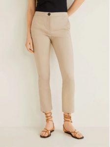pantalones beige de línea recta de algodón