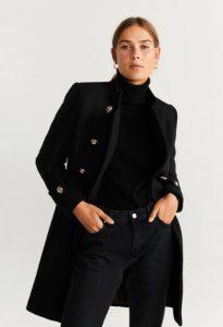 abrigo de lana negro con botones