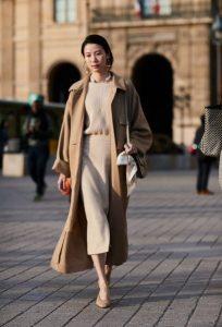 abrigo beige total look ropa de invierno beige
