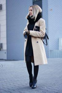 abrigo de ropa beige negro ropa de invierno beige