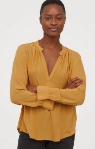 blusa amarilla de las señoras del otoño 2019