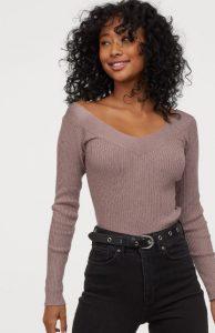 blusa de mujer de invierno escote en v