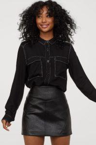 camisa de mujer de jeans de invierno negro