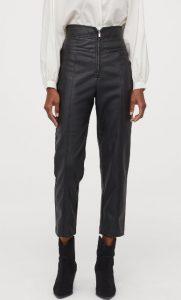 pantalones de cuero de talle alto hasta el tobillo