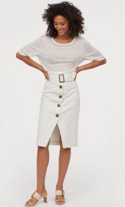 falda blanca de cintura alta