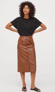 falda midi de piel con botones