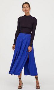falda maxi azul con lágrimas