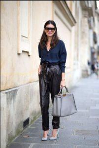 pantalones de cuero negro de talle alto