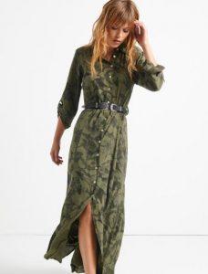 vestido largo estampado de mujer con botones