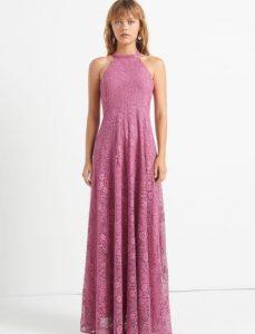 vestido largo rosa con encaje