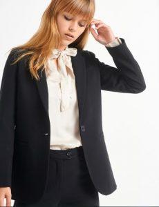 chaqueta negra clásica con botones