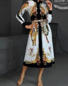 vestido de manga larga con muchos diseños blanco negro beige
