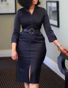 vestido midi cinturón de manga larga negro