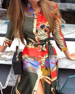 vestido de satén cinturones estampados coloridos vestidos para todas las ocasiones