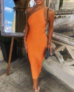 vestido midi naranja con un hombro vestidos para todas las ocasiones