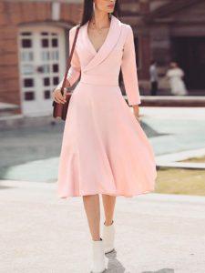 vestido de crucero midi rosa