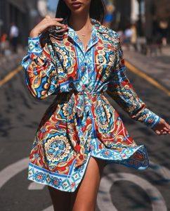 mini camisa de vestir estampada vestidos azul claro todas las ocasiones