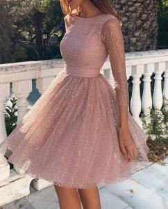 vestido rosa corto vestidos de diapositivas con purpurina todas las ocasiones