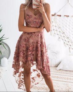 vestido rosa sin mangas flores en relieve
