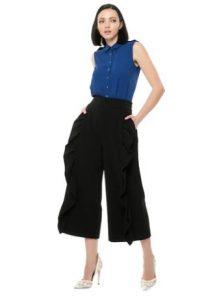 calzoncillos con cremallera cinturón negro con volantes camiseta azul