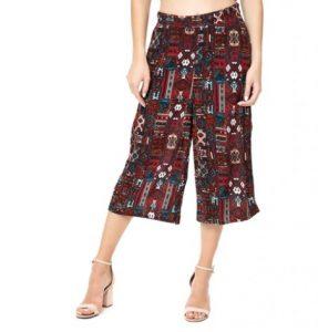pantalones de cultivo borgoña diseños aztecas