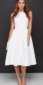 vestido midi blanco mujer