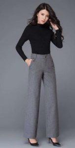 pantalones grises de mujer