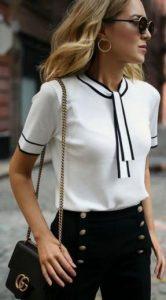 look femenino clásico con look blanco y negro